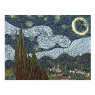 Noche estrellada postal