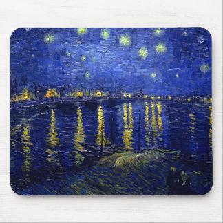 Noche estrellada Rhone de Van Gogh Alfombrillas De Ratón