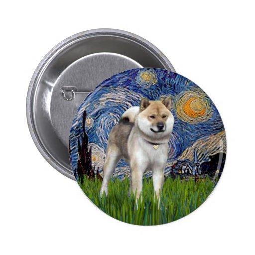 Noche estrellada - Shiba Inu Pin Redondo 5 Cm