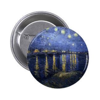 Noche estrellada sobre el botón de Rhone Pin