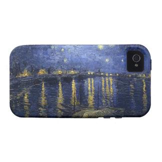 Noche estrellada sobre el caso del iPhone 4 de Rho Case-Mate iPhone 4 Fundas