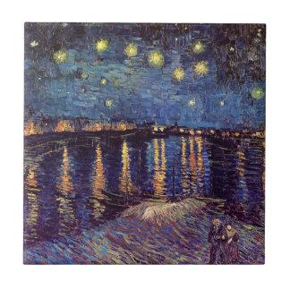 Noche estrellada sobre el Rhone, arte de Van Gogh Azulejo Cuadrado Pequeño