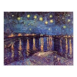 """Noche estrellada sobre el Rhone, arte de Van Gogh Invitación 4.25"""" X 5.5"""""""