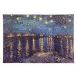 Noche estrellada sobre el Rhone, arte de Van Gogh Manteles Individuales