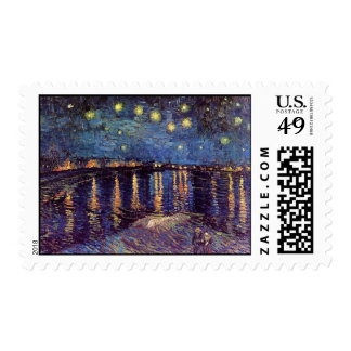 Noche estrellada sobre el Rhone, bella arte de Van Estampillas