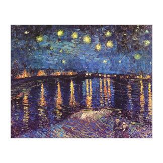 Noche estrellada sobre el Rhone, bella arte de Van Impresion En Lona