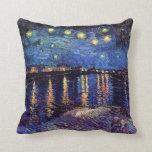 Noche estrellada sobre el Rhone de Van Gogh Cojin