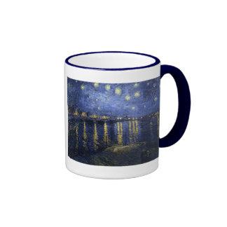 Noche estrellada sobre el Rhone de Van Gogh Taza A Dos Colores