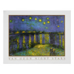Noche estrellada sobre el Rhone de Vincent van Gog Poster
