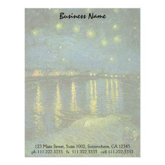 Noche estrellada sobre el Rhone de Vincent van Membrete