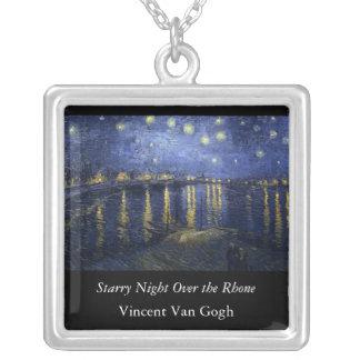 Noche estrellada sobre el Rhone - el Van Gogh Colgante Cuadrado