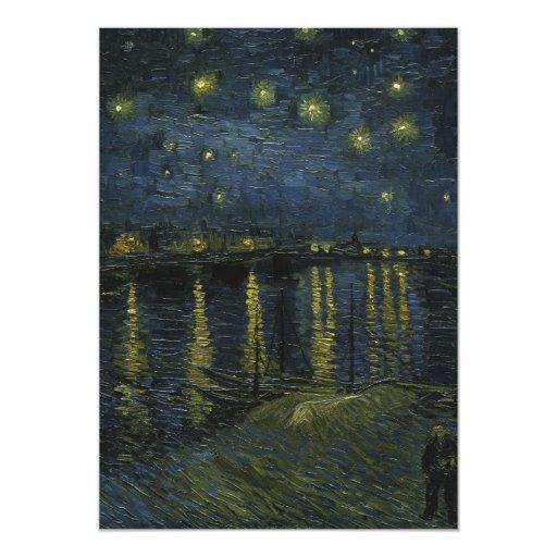 """Noche estrellada sobre el Rhone - el Van Gogh Invitación 5"""" X 7"""""""