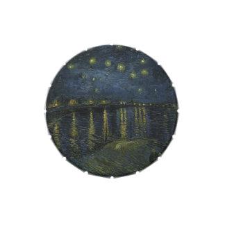 Noche estrellada sobre el Rhone - el Van Gogh Frascos De Caramelos