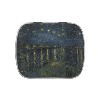 Noche estrellada sobre el Rhone - el Van Gogh Jarrones De Caramelos