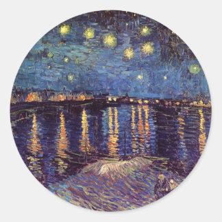 Noche estrellada sobre el Rhone - el Van Gogh Pegatinas Redondas