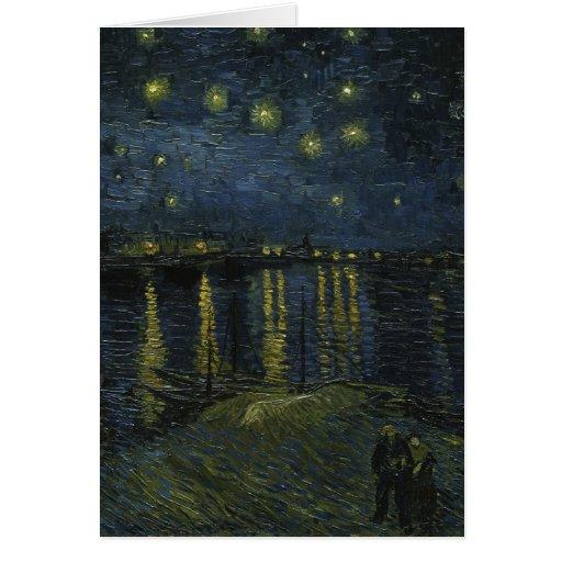 Noche estrellada sobre el Rhone - el Van Gogh Tarjeta De Felicitación