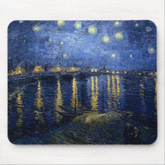 Noche estrellada sobre el Rhone Mousepad Tapetes De Raton