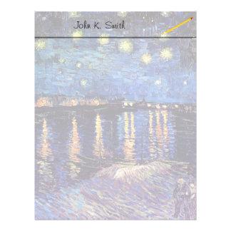 Noche estrellada sobre el Rhone, por Vincent van Membretes Personalizados