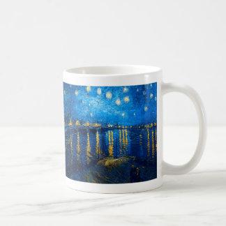 Noche estrellada sobre el Rhone, Van Gogh Taza Básica Blanca