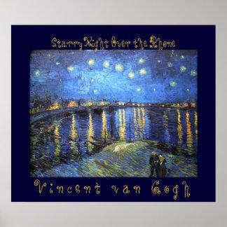 Noche estrellada sobre el Rhone: Vincent van Gogh Póster