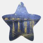 Noche estrellada sobre el río Rhone Pegatina En Forma De Estrella