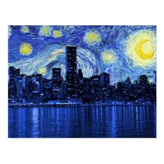 Noche estrellada sobre New York City Tarjetas Postales