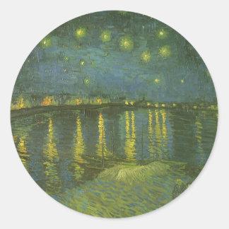 Noche estrellada sobre Rhone de Vincent van Gogh Etiquetas Redondas