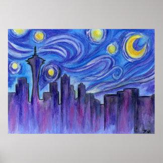 Noche estrellada sobre Seattle Impresiones