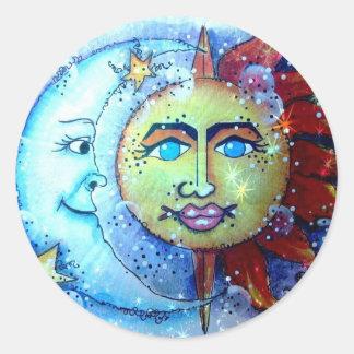 Noche estrellada Sun y pegatina de la luna