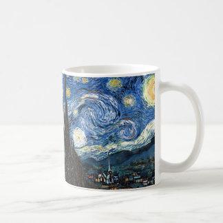 Noche estrellada taza básica blanca