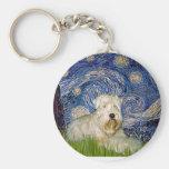 Noche estrellada - Terrier de trigo 1 Llavero Personalizado