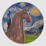 Noche estrellada (Van Gogh) - caballo del árabe de Etiquetas Redondas