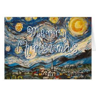 Noche estrellada Van Gogh de las Felices Navidad r Tarjetón
