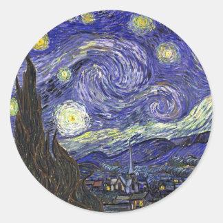 Noche estrellada, Vincent van Gogh. Pegatina Redonda