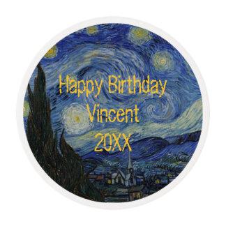 Noche estrellada Vincent van Gogh personalizado Papel De Azúcar Redondo
