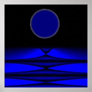 Noche extranjera de la Luna Llena de la tierra Póster