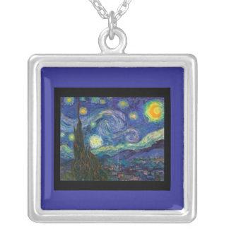 Noche Gogh-Estrellada Collar-Clásica de Arte-Van Colgante Cuadrado