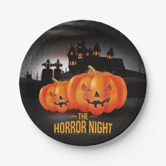 Noche Halloween del horror placa de papel de 7 Plato De Papel De 7 Pulgadas