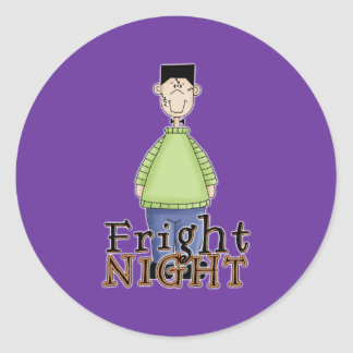 Noche Halloween del susto de Frankenstein Etiqueta Redonda