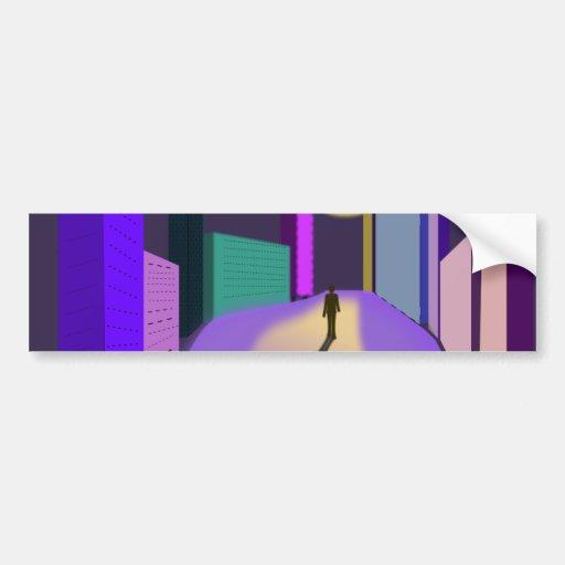 noche ideal surrealista de la ciudad etiqueta de parachoque