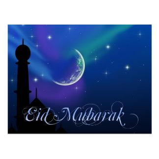 Noche mágica de Eid - postal islámica del saludo