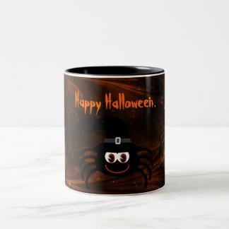 Noche mágica de las arañas lindas de Halloween Taza De Dos Tonos