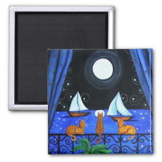 Noche mágica del gato imán cuadrado