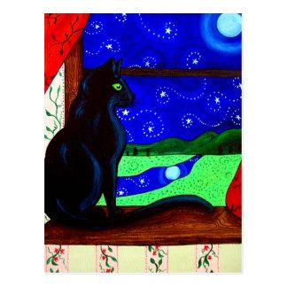 Noche mágica del gato negro tarjeta postal