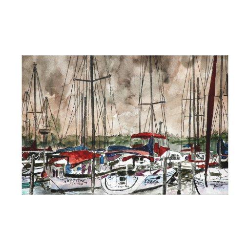 noche náutica de los veleros del arte de la sepia  impresiones en lona