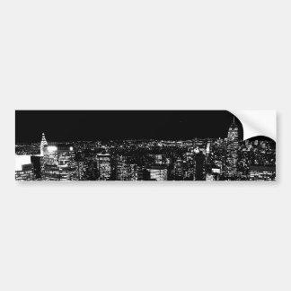 Noche negra y blanca de New York City Pegatina De Parachoque