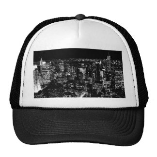 Noche negra y blanca de New York City Gorras De Camionero