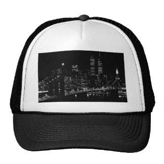 Noche negra y blanca de New York City Gorros