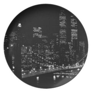 Noche negra y blanca de New York City Plato De Comida