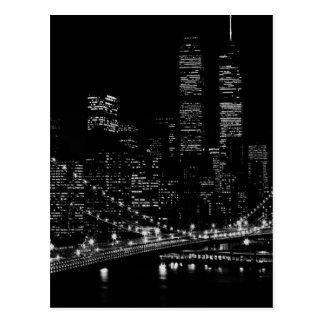 Noche negra y blanca de New York City Postales